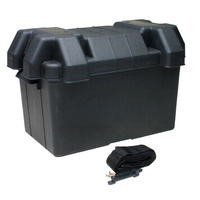 Extra Tall Battery Box Large AGM With Strap for 100 120 130 135 AH Batteries Deep Cycle