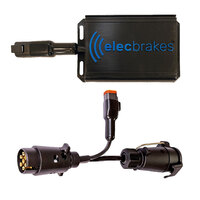 Electric Brake Controller + Plug & Play Adapter Large Round 7 pin to Large Round 7 pin Socket (Bundle)