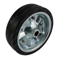 "Solid Rubber Wheel Metal Rim to Replace 8"" Jockey Wheel 16mm Bore"