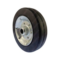 "Solid Rubber Wheel Metal Rim to Replace 8"" Jockey Wheel 22mm Bore"