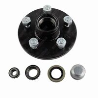 "Trailer Hub 6"" Holden HT 5 Stud With Bearings, Dust Cap & Seals - BLACK"