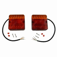 2 x Square LED Trailer Light Stop Tail Indicator Number Plate 12V