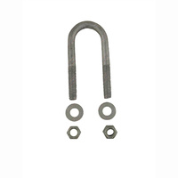 "U-Bolt 39mm (1 1/2"") ROUND x 115mm (4 1/2"") Long with Flat Washers Nyloc Nuts Galvanised"