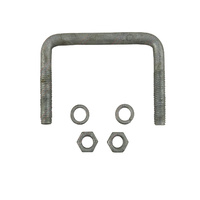 "U-Bolt 100mm (4"") SQUARE x 75mm (3"") Long 12mm Dia with Spring Washers & Nuts Galvanised"