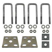 U Bolts Kit 45mm SQUARE x 140mm Galvanised Boat Trailer Fish Plates Axle Pads