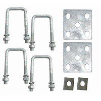 "U Bolts Kit 50mm Square x 4.5"" Galvanised Boat Trailer Fish Plates Axle Pads"