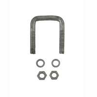 "U-Bolt 50mm (2"") SQUARE x 75mm (3"") Long 12mm Dia with Spring Washers & Nuts Galvanised"