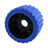 "4"" Diameter Boat Trailer Wobble Roller Ribbed 22mm Bore 3"" Wide Blue Boat Jet Ski Trailer"