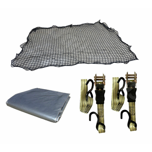 Cargo Net 1.5m x 2.2m Ute Trailer Truck Boat PLUS 7x5 Tarp & Two Ratchet Straps