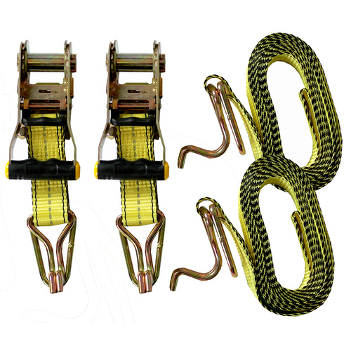PAIR - HEAVY DUTY Tie Down Ratchet Straps 38mm x 4.5m 1000kg SWL - AS/NZS4380