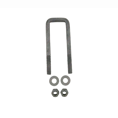 "U-Bolt 45mm (1 3/4"") SQUARE x 150mm (6"") Long with Flat Washers Nyloc Nuts Galvanised"