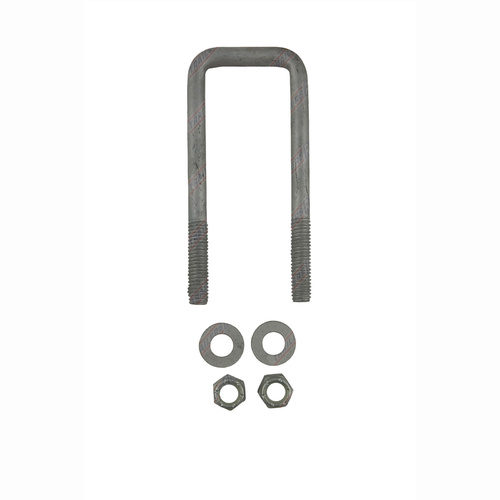 "U-Bolt 50mm (2"") SQUARE x 150mm (6"") Long with Flat Washers Nyloc Nuts Galvanised"