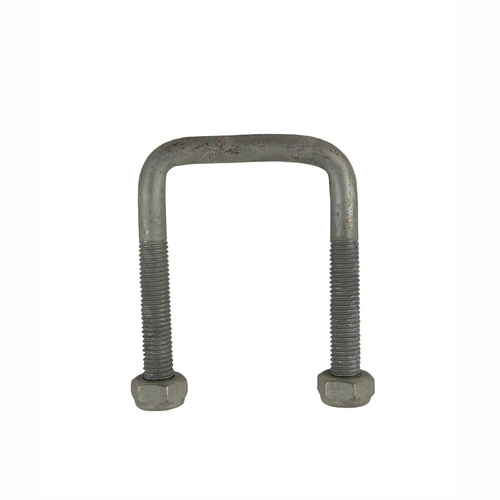 "U-Bolt 50mm (2"") SQUARE x 75mm (3"") Long 10mm Dia with Nyloc Nuts Galvanised"