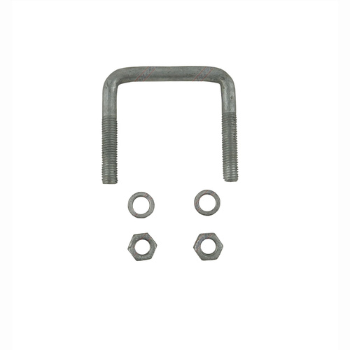 "U-Bolt 75mm (3"") SQUARE x 75mm (3"") Long 12mm Dia with Spring Washers & Nuts Galvanised"