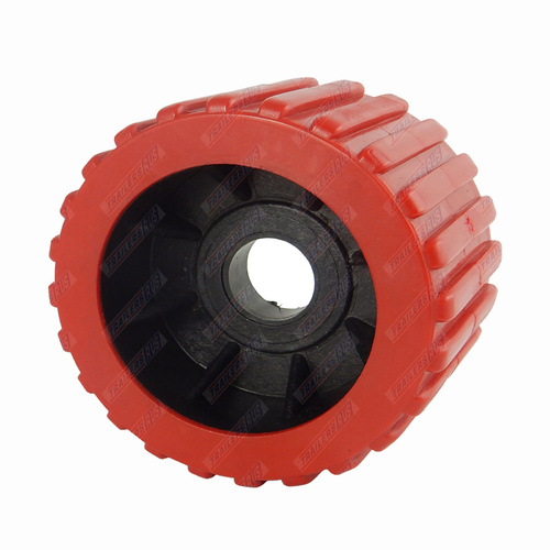 "4"" Diameter Boat Trailer Wobble Roller Ribbed 26mm Bore 3"" Wide Red Boat Jet Ski Trailer"